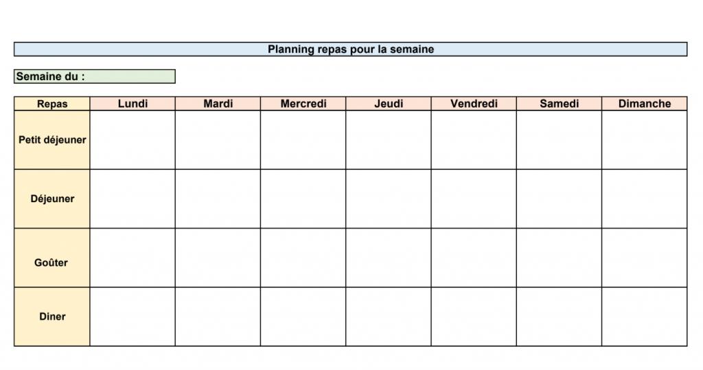 Planning Menu De La Semaine A Imprimer Wizzelite